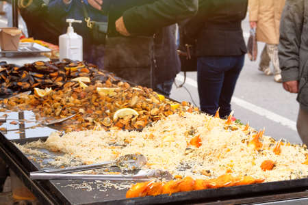 Mussels, shrimp and other seafood on street market, takeaway. Fast or street food concept. Festival of Mediterranean Cuisine. Stock fotó
