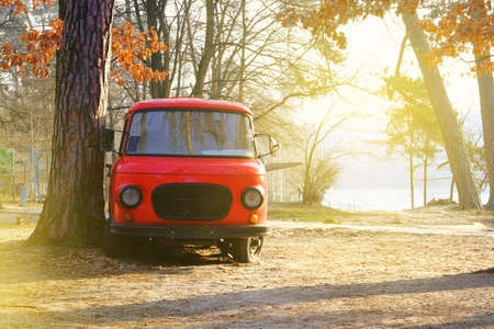 Vintage red bus stands in the autumn forest. Sunny day in fall. Warm weather in forest.