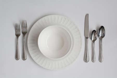 formal dinner: Formal Dinner Place Setting Utensils Including Bowl