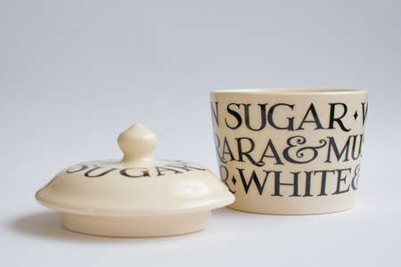 suger: Classic Suger Bowl with Lid Infront Front View Stock Photo