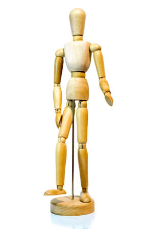unisex: 12 Wooden unisex mannequin for art posing casually on base with reflection