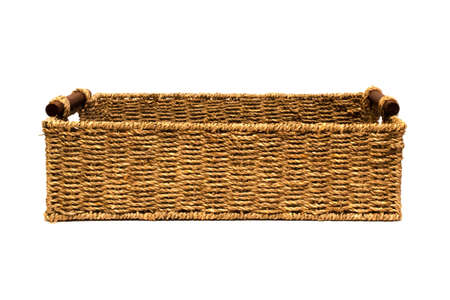 interleaved: Woven rope basket with handles above side view Stock Photo