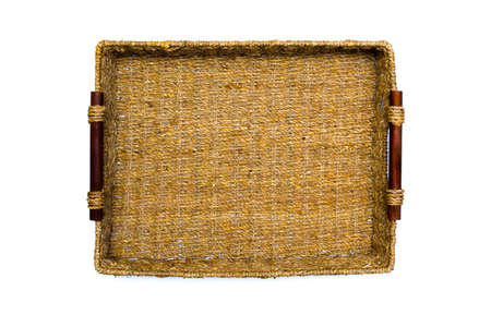 interleaved: Woven rope basket with handles top view