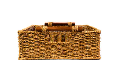 interleaved: Woven rope basket with handles front view