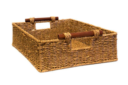 interleaved: Woven rope basket with handles three quarter view