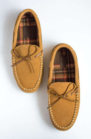 moccasin: Pair of Moccasin Slippers Top View Staggered