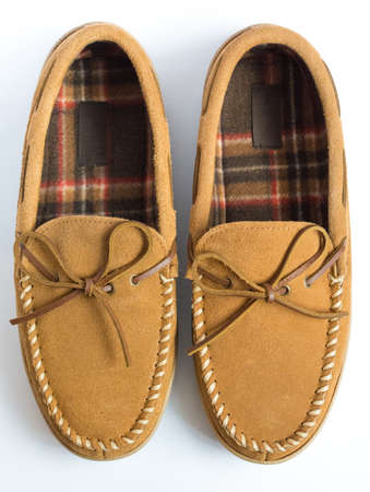 moccasin: Pair of Moccasin Slippers Top View Closeup Stock Photo
