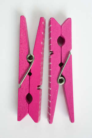 flipped: Two Pink Clothes Pins with Fun Patterns Flipped Top View