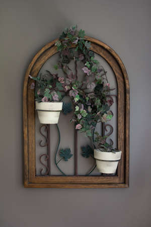 country house style: Potted Vine Flowers in Window Frame Decor Front View