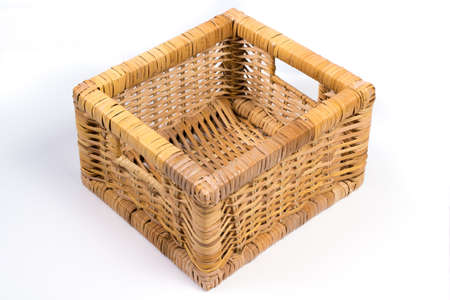 interleaved: Square Wicker Basket Isolated on White Perspective Angled View