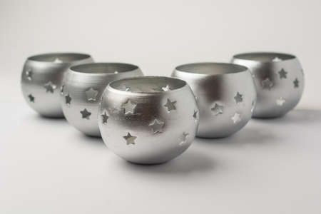 Tealight Candles with Stars on White Background Front View