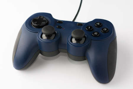 Video Game Controller on White Background Close Up Perspective View
