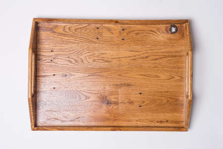 Wooden Serving Tray Flat Lay Top View