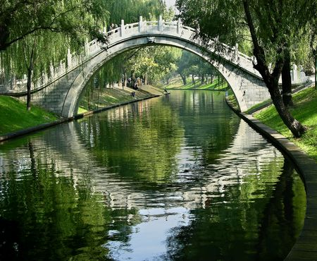 Moon Gate, Purple Bamboo Park, Beijing, China  Water Reflections Summer
