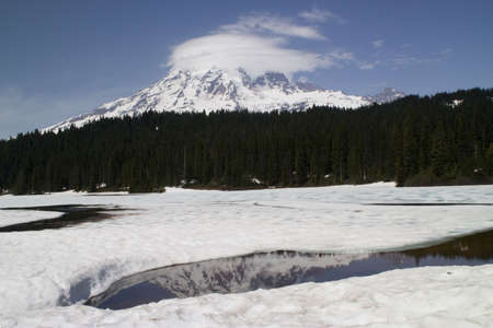 Reflection Lake Iced Over and Thawing, June, Mount Rainier National Park