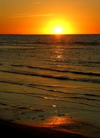 Océano Báltico Sunset Beach Jurmula Letonia  Foto de archivo - 2781156