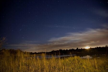 Salt Water Marsh at Night Under Stars and Moon with Orion Constellation photo