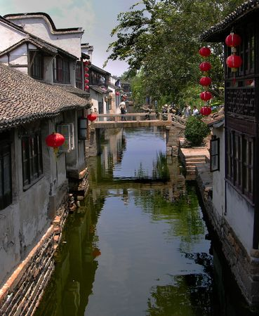 zhouzhuang:  Zhouzhuang, Ancient Chinese City outside of Shanghai, with Canals, water and reflections          Stock Photo