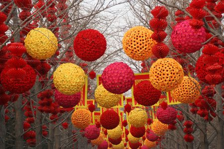 Chinese New Year Decorations, Ditan Park, Beijing, China.  During Lunar New Year, many parks and temples in China have large outdoor fairs, festivals. Stock Photo - 2781184