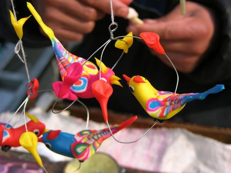 Carving Toy Birds from Wheat Flour, Temple Fair, Chinese Lunar New Year, Beijing, China Stock Photo - 2781195