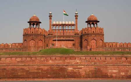 monument in india: Lahore Gate, Front Gate of Red Fort, Mughal Emperor Palace, Delhi, India
