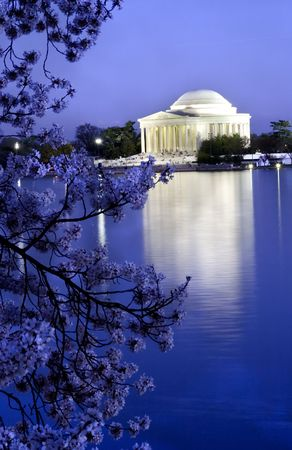 district columbia: Jefferson Memorial with Cherry Blossoms, tidal basin with reflections, Washington DC, District of Columbia