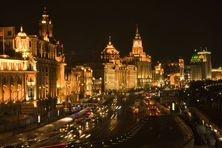 The Bund, Old Part of Shanghai, At Night with Cars etc. photo