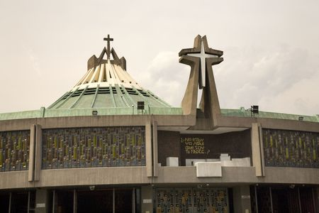 shrine: Modern Basilica where Pope Held Mass, Guadalupe Shrine, Mexico City, Mexico.  This is the holiest spot in Mexico and Latin America for the Catholic Faithful. Stock Photo