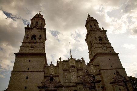 steeples: Main Cathedral Steeples Details Morelia Mexico Overview