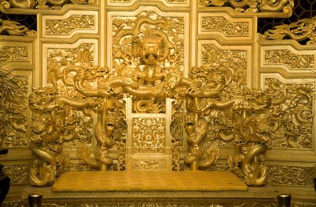emperor of china: Chinese Golden Emperors Throne with Dragons Reproduction Stock Photo