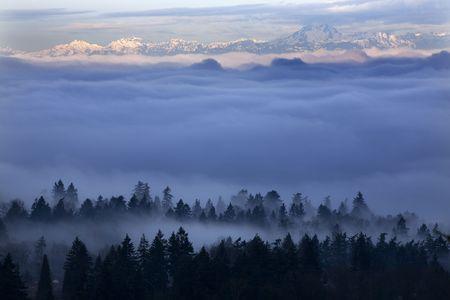 霧距離でオリンピック山ワシントン州のシアトルをカバー。サマセット、ベルビュー、ワシントン州、朝から撮影 写真素材 - 2809397