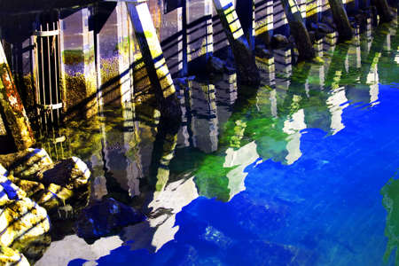 puget: Reflection Pier Abstract, Puget Sound, Edmonds, Washington Stock Photo