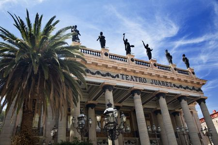 Juarez Theater Guanajuato Mexico  This theater is a very famous spot in Mexico where many famous singers and actors have appeared.  Stock Photo