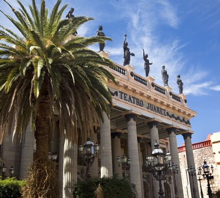 Juarez Theater, Guanajuato, Mexico.  This theater is a very famous spot in Mexico where many famous singers and actors have appeared.   Stock Photo