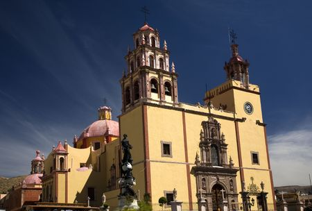 steeples: Basilica of our Lady of Guanajuato, La Basilica de nuestra Senora de Guanajuato, Steeples Blue Skies and Mexico