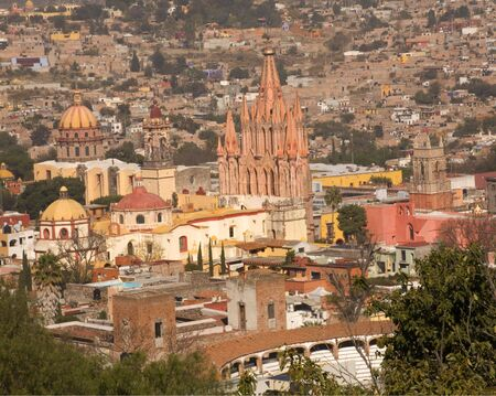bull fight: Overlook San Miguel de Allende, Mexico, Parroquia, Archangel Church, Bull Fight Ring, Various Churches, Domes and Houses, No Trademarks Stock Photo