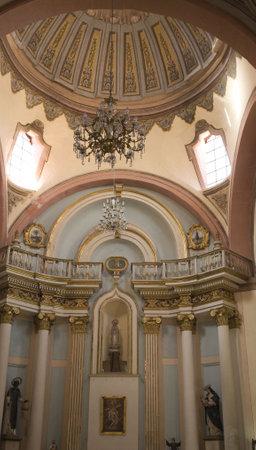 santo: Santo Domingo Church Temple, Interior, Dome and Altar, Queretarao, Mexico