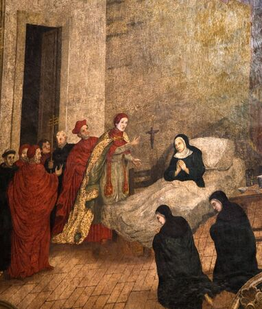 abbey: Santa Clara Church and convent, Old Painting from 1600s of the nuns at the church, Quertetaro, Mexico