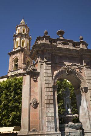 prayer tower: Temple de Santa Clara de Asis, Santa Clara Church with Neptune Statue, Queretaro, Mexicor