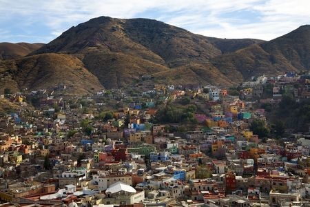 reviewer: Many Colored Houses, Guanajuato, Mexico, Hill against Blue Sky, no trademarks  Resubmit--In response to comments from reviewer have further processed image to reduce noise and sharpen focus.