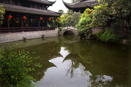 Red Lanterns, Old Buildings, Stone Bridge, Pond, Reflections, Wuhou Memorial, Three Kingdoms, Chengdu, Sichuan, China Stock Photo - 3180831