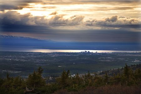 Anchorage Alaska at Sunset from top of Flattop Mountain   photo
