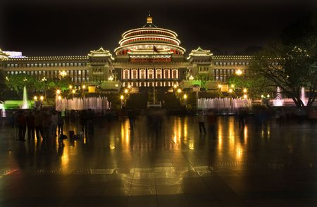 great hall: Dancing at night Renmin Peoples Square, Great Hall of the People, Chongqing, Sichuan, China  Stock Photo