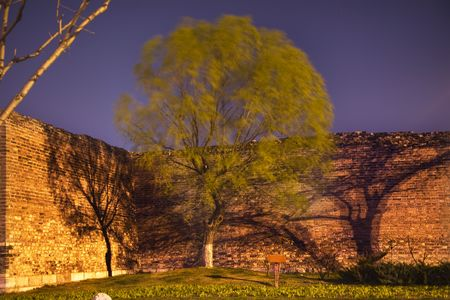 Night Shot City Wall Park Beijing, China with green willow and shadows  This is the city wall park with the original wall that surrounded the old city of Beijing.   photo