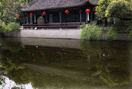 Red Lanterns, Pavilion, Wuhou Memorial, Three Kingdoms, Temple, pond reflection, Chengdu, Sichuan, China