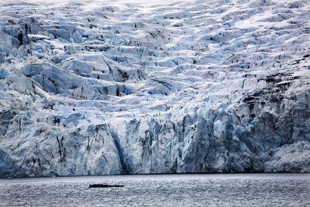 Blue Big Icy Portage Glacier Lake, Anchorage, Alaska  The blue is from the glacier.