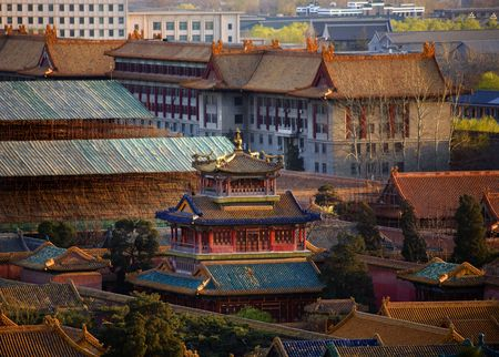 pavilon: Blue Red Dragon Pavilion among Old Imperials Buidings Forbidden City Beijing China