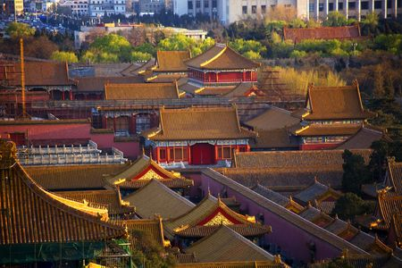 buidings: Red Pavilion among Old Imperials Buidings Forbidden City Beijing China