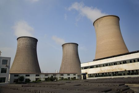 coal fired: Cooling Water Towers, Coal Fired Electricity Plant, Anshan, Liaoning Province, China  This was taken from public property.  No property release is required.  Editorial