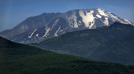 helens: Snow Covered Mount Saint Helens in Back of Green Mountains